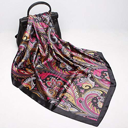 XMYNB Schal Mode Druckschals Für Frauen Seiden Satin Hijab Schal Weibliche 90 * 90Cm Luxusmarke Quadratische Schal Stirnband Schals Für Damen,Smaragdgrün,90X90 Cm.
