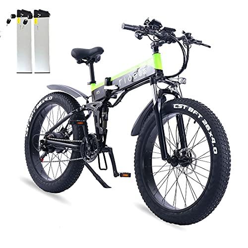 ride66 Bicicleta eléctrica plegable de montaña R5 de 26 pulgadas Fat Tire con frenos hidráulicos de 21 velocidades, 1000 W, 48 V, 12,8 Ah, batería de celdas LG de litio (batería doble verde)