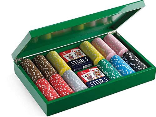 JUEGO JU00068 - Camelot Game I Cofanetto Originale Da 300 Fiches In Ceramica I Poker Set Professionale I Confezione In Legno Leccato - Verde