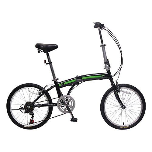 "IDS Home unYOUsual U Transformer 20"" Folding City Bike Bicycle 6 Speed Shimano Gear Frame Mudguard Rear Carrier Front Rear Wheel Reflectors (Black)"