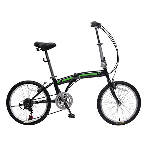 IDS Home unYOUsual U Transformer 20' Folding City Bike Bicycle 6 Speed Shimano Gear Frame Mudguard Rear Carrier Front Rear Wheel Reflectors (Black)