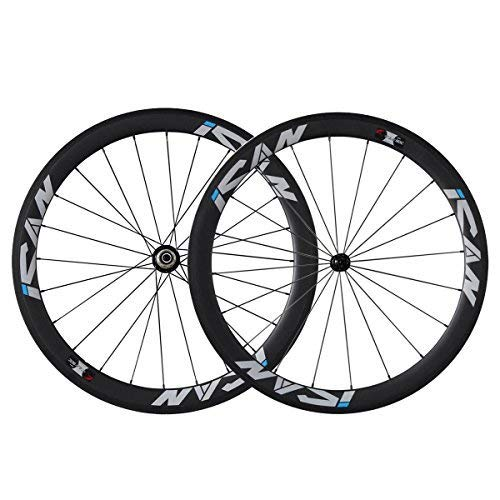 QIQI Bikes 700C Carbon Laufradsatz Rennrad 50mm Clincher Shimano 10/11 Speed 1510g (Classic Laufradsatz)