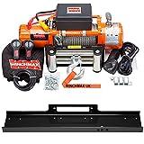 Winchmax 13.500 libras (6.123 kg) Cabrestante eléctrico naranja original de 24v. Cuerda de acero, placa de montaje de cama plana