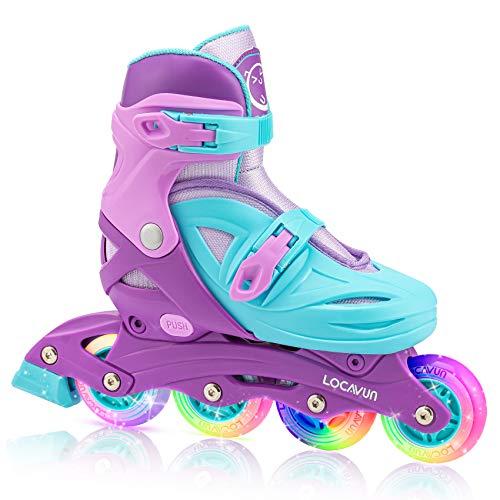 Locavun Verstellbare Inline-Skates für Mädchen, Jungen, Kinder mit leuchtenden Rädern, beleuchtete Hartschalen-Rollerblades für den Innen- und Außenbereich (Violett, S: 26-30 EU)