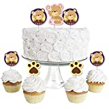Baby Girl Teddy Bear - Dessert Cupcake Toppers - Baby Shower Clear Treat Picks - Set of 24