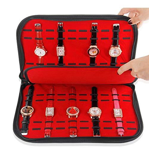WMC Sehen Sie Organizer, 20 Slots Grids Uhrenarmband-Collector Organizer-Uhrenarmband-Kasten-Schwarz-PU-Uhr-Aufbewahrungsbox Mit Reißverschluss Armbanduhr-Anzeigen-Behälter