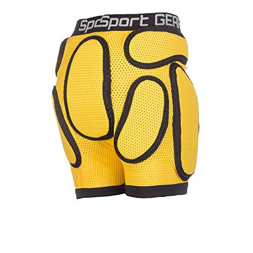 SPORT GEAR Recruit Padded Shorts for Kids – 3D Protection Hip Pants for Sports, Inline Skating, Skateboarding, Skiing, Snowboarding – Breathable and Protective Short Pants (3X-Small, Yellow)