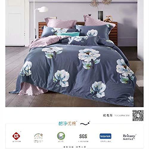 yaonuli 4-delige set van katoen met lange vezels, klein bed, fris en eenvoudig, Owens 2.0 (geschikt voor een kern 220 x 240 cm)