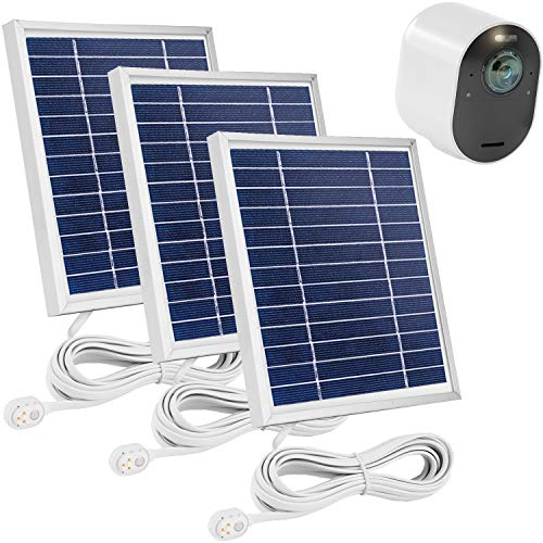 Uogw 3 Pack Solar Panel Charge for Arlo Ultra/Ultra 2 /Arlo Pro 3/Pro 4,with 11.5ft Waterproof Magnetic Power Cable, Adjustable Mount-Silver (NOT for Arlo Essential Spotlight)