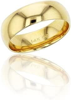 10K or 14K Yellow & White Gold 6mm Polished Plain Wedding Band, Size