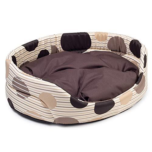 BOUTIQUE ZOO Hundebett | Oval Hundekissen für Mittlere Hunde | Kratzfest Hundeliege mit Kissen | Hundekorb | Waschbar Polyester | Große: L (57x52 cm) | Farbe: Beige mit Braun Muster
