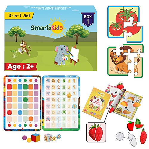 SmartoKids 3-in-1 Activity Set | 2+ Years | Box 1 of Games and Puzzles for 2 to 3 Year Old Baby boy and Girl | Learning and Educational Gift Pack | Age - 2-3