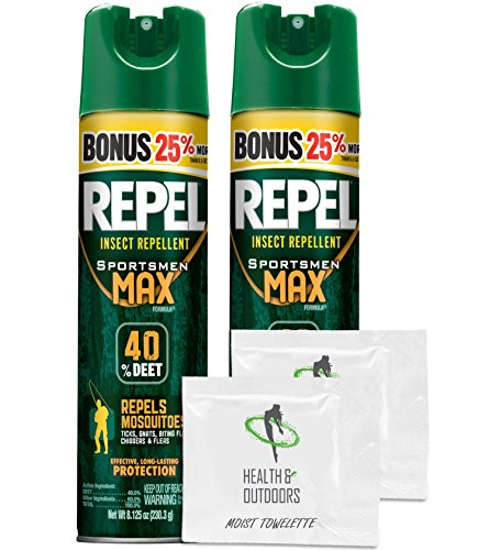 Price comparison product image Repel Sportsmen Max Aerosol Insect Repellent Bonus,  40% Deet,  8.125 oz - 2 Count - with BONUS HealthandOutdoors Moist Towelettes