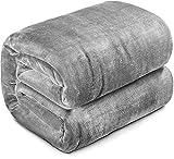 HOKEKI Soft Blanket,Flannel Fleece Blanket,All Seasons Warm Throw Blanket for Nap,Fluffy Microfiber Bed Blanket for Sofa,Couch (Grey, Twin(60''X80''))