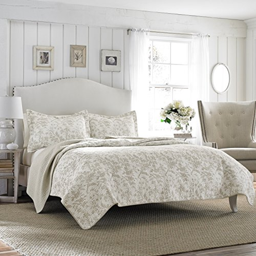Laura Ashley Home | Amberley Bedding Collection | Luxury Premium Ultra Soft Quilt Coverlet, Comfortable 3 Piece Set, All Season Stylish Bedspread, Full/Queen, Bisquit