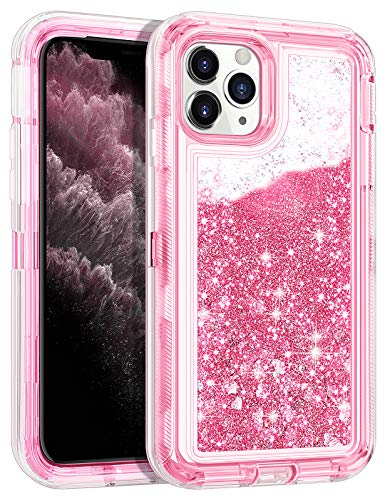 Wollony for iPhone 11 Pro Max Case Glitter Heavy Duty Girly Liquid Bling Quicksand 3 in 1 Hybrid Shockproof Hard Bumper Soft Clear Rubber Non-Slip Protective Cover for iPhone 11 Pro Max 6.5inch Pink