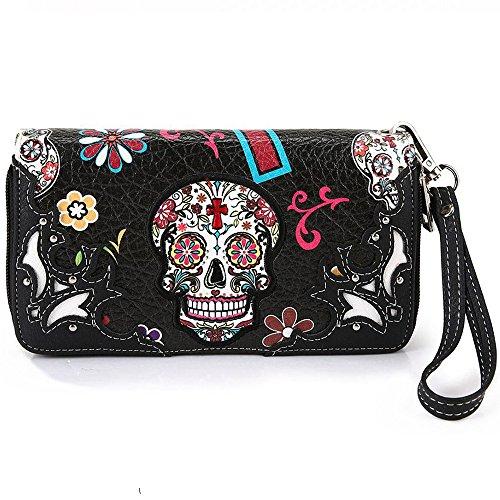 La Dearchuu Western Style Sugar Skull Wallet for Women Leather Wristlet Purse Ladies Double Zipper Clutch Bag for Card, Cash, Bills, Phone (Black)