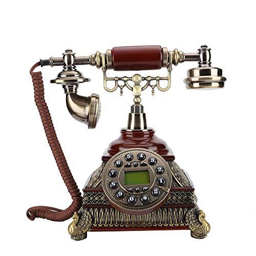 Vbestlife Teléfono Fijo Retro Teléfono Antiguo de época Estilo Europeo Pantalla de Visualización con Botón de Solo Rellamada Remarcado Número de Llamada FSK/DTMF