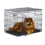 New World 36' Double Door Folding Metal Dog Crate, Includes Leak-Proof Plastic Tray; Dog Crate Measures 36L x 23W x 25H Inches, Fits Intermediate Dog Breeds
