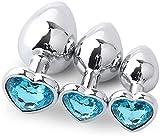WORUIJIA Butt Plu? for Women 3 Pcs/Set Beginner Gem Jeweled Stainless Steel Bûtt Pl'u? Trainer Set Relaxing Massage Änàles Back Stimulator Diamonds Design for Men and Women - Heart-Shaped Light Blu