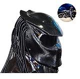 LHY Moto Helm, Motorradhelm Predator Carbon-Faser-UV-Schutz Anti-Fog-Helm Eisen Krieger Gesicht...