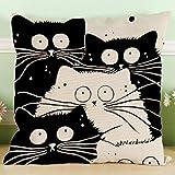 yisumei Housse de coussin Housse de coussin 60x 60cm Home Decor Coussin décoratif cas canapé jeter taies d'oreiller Pillo wcases chat noir et blanc