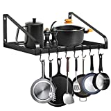Hanging Pot Rack,LADER Wall-Mounted Pot Lid Holders for Kitchen Counter and Cabinet,Organizer Rack Hanging Storage Box with 8 Hooks Included, Kitchen Simplehouseware (Black)
