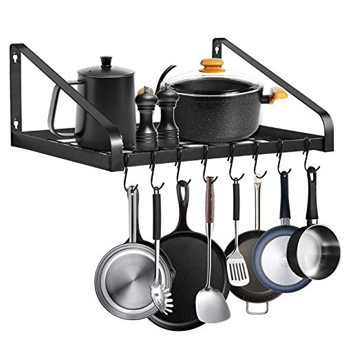Hanging Pot RackLADER Wall-Mounted Pot Lid Holders for Kitchen Counter and CabinetOrganizer Rack Hanging Storage Box with 8 Hooks Included Kitchen Simplehouseware Black