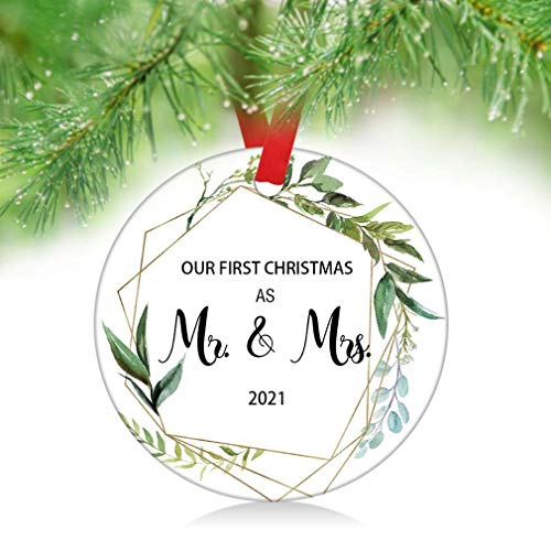 ZUNON 2021 Our First Christmas as Mr & Mrs Couple Married Wedding Decoration 3' Ornament Green Leaves(As Mr & Mrs)
