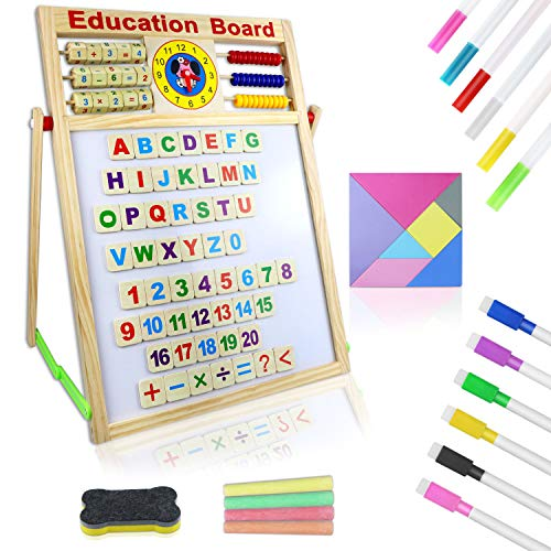 Wooden Art Easel, Double Sided Tabletop Drawing Board for Kids, Magnetic Whiteboard and Chalkboard with ABC Magnets Alphabet Letters Number Learning Set, Classroom Home Education Toddlers Toys Gifts