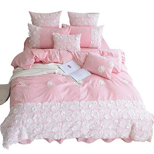 Teyun. Aus Reiner Baumwolle Dreidimensionale-Spitze-Blumen-Serie, Home Textile Suite (Color : Gray, Size : 200 * 220CM)