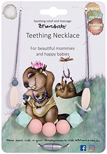 Teething Necklace for beautiful mommies and happy babies Romanzo Rosa, Safe for babies, relieve aching gums