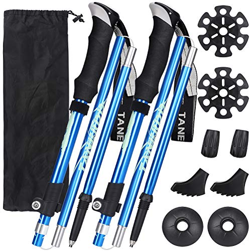 Esup Trekking Poles Collapsible Aluminum Alloy 7075 Hiking Poles 2pc Pack Adjustable Quick Lock for Hiking, Camping, Outdoor (Blue)