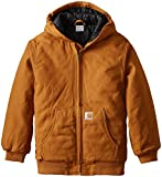 Carhartt boys Active Quilt Lined Coat outerwear jackets, Carhartt Brown Taffeta Lined, Small US