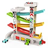 TOP BRIGHT Car Ramp Toy for 1 2 3 Year Old Boy Gifts, Toddler Race Track Toy with 4 Wooden Cars and 3 Car Garage