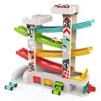 TOP BRIGHT Car Ramp Toy for 1 2 3 Year Old Boy Gifts Toddler Race Track Toy with 4 Wooden Cars and 3 Car Garage