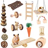Suwikeke Guinea Pig Toys, Hamster Chinchilla Gerbil Rat Ball Roller Chew Toys Bunny Rabbits Molar Wooden Accessories, Teeth Care Molar Pet Supplies for Small Animals(Pack of 14)