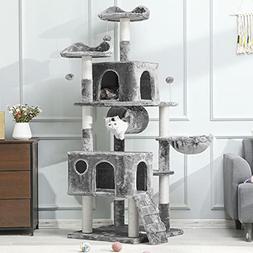MSmask Kratzbaum groß, 175cm Kletterbaum für groß Katzen, Katzenbaum, Stabiler Kratzbaum Grosse Katzen mit Höhlen Sisal-Kratzstangen (Grau)