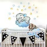 R00585 Pegatina Vinilo Pared Suave Efecto Tejido Decoración Niño Bebé Habitación Infantil Guardería Papel Pintado Autoadhesivo Elefante Nube Sueño
