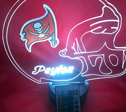 Tampa Bay Buccaneers NFL Light Lamp Light Up Hand Crafted Football Helmet Table Lamp LED with Remote, Personalized - It's Wow, with Remote 16 Color Options, Dimmer, Free Engraving, Great Gift