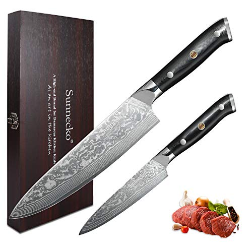 Sunnecko Juego de Cuchillos de Cocina Profesional Damasco Cuchillo Cocina de 20 cm, un Cuchillo Multifuncional de 12,7 cm, Acero de Damasco Japonés VG-10 Gyuto Cuchillo Chef -Serie clásica