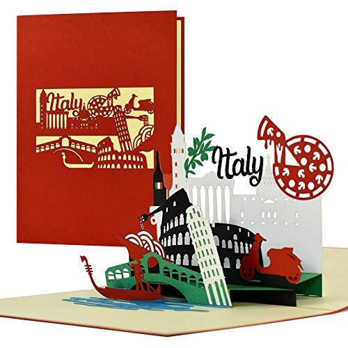 Vale de viaje a Italia, Roma, Venecia, tarjeta 3D pop up Italia, cupón de hotel para ti o para ella, idea de regalo y regalo, A123AMZ