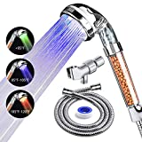 PRUGNA LED Shower Head with Hose and Shower Arm Bracket, High-Pressure Filter Handheld Shower for Repair Dry Skin and Hair Loss - Color Changes with Water Temperature