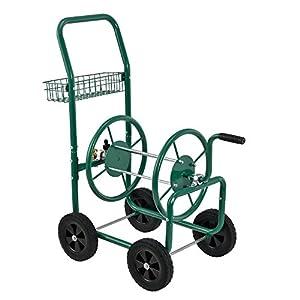 [pro.tec] Carro portamangueras metal (XL) profesional (Conexiones: 3/4 pulgadas) (Color: verde) – Carrete para manguera…