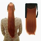 iLUU 24'Extensión de pelo de cola de caballo recta larga 90g Postizo de pelo sintético #119 Cobre Naranja Rojo Color...