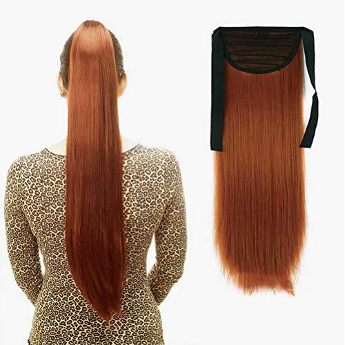 "iLUU 24""Extensión de pelo de cola de caballo recta larga 90g Postizo de pelo sintético #119 Cobre Naranja Rojo Color de moda Clip de amarre en el pelo de cola de caballo para cosplay"