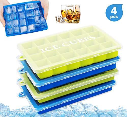 ilauke Eiswürfelform 4er Pack Silikon Eiswürfelbehälter mit Deckel, LFGB FDA Zertifiziert, Eiswürfel Form für Bier, Whisky, Pudding oder Babynahrung
