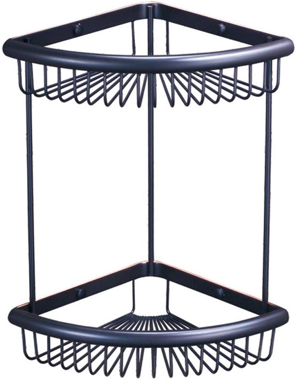 GJT Storage Basket Double Fan-Shaped Bathroom Bathroom Corner bluee Triangle bluee Shelf,Blackancient