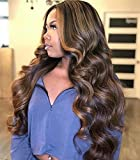AISI HAIR Long Wavy Brown mix Blonde Wigs for Women 28 Inches Side Part Body Wave Curly Highlights Wig Natural Looking Realistic Synthetic Hair for Daily Party use