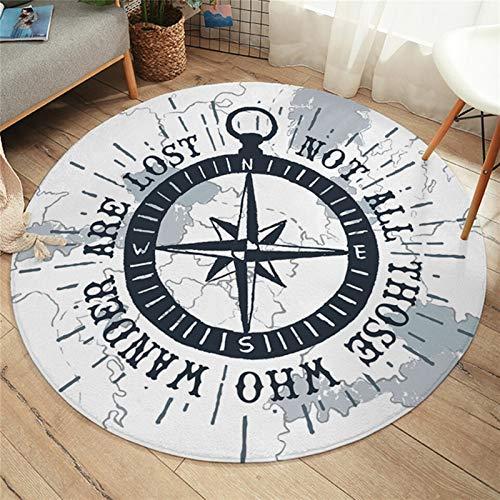 JSJJAYU Alfombra redonda con mapas náuticos y mapamundi del mundo, alfombra blanca antideslizante para niños (color: negro, tamaño: 80 cm)